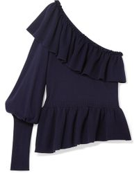 Ulla Johnson - Eden Ruffled One-shoulder Cotton And Cashmere-blend Sweater - Lyst