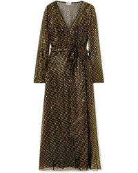 RED Valentino - Metallic Fil Coupé Silk-blend Chiffon Wrap-effect Maxi Dress - Lyst