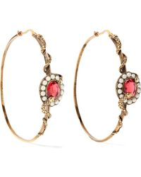 Alexander McQueen - Gold-tone, Crystal And Faux Pearl Hoop Earrings - Lyst