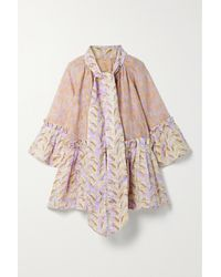 Yvonne S Angelica Pussy-bow Tiered Printed Linen-gauze Mini Dress - Purple