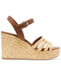 3ef070bd6f1 Prada - Leather And Woven Raffia Espadrille Wedge Sandals - Lyst