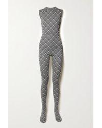Miu Miu Checked Wool Jumpsuit - Grey