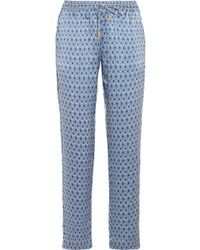 Paloma Blue - Venice Printed Silk-satin Trousers - Lyst