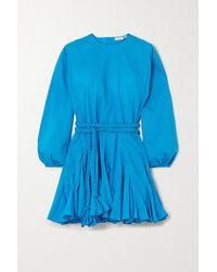 RHODE Ella Minikleid Aus Baumwolle Mit Falten Und Bindegürtel - Blau
