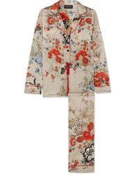 Meng Printed Silk-satin Pyjama Set - Red