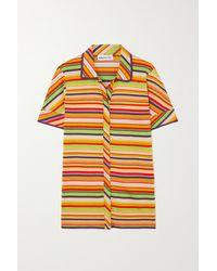 Kenneth Ize Striped Silk And Cotton-blend Shirt - Orange