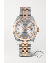 Rolex Pre-owned 2008 Lady-datejust Automatic 26mm 18-karat Rose Gold And Oystersteel Watch - Metallic