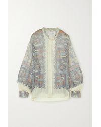 Etro - Bluse Aus Seidenkrepon Mit Paisley-print - Lyst