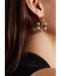 Timeless Pearly Gold And Silver-plated Swarovski Crystal Hoop Earrings - Metallic