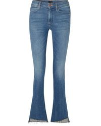 Mother The Runaway Frayed Mid-rise Flared Jeans - Blue