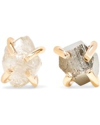 Melissa Joy Manning | 14-karat Gold, Pyrite And Diamond Earrings | Lyst