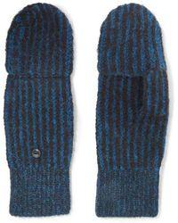 Rag & Bone Jonie Striped Ribbed-knit Mittens - Blue