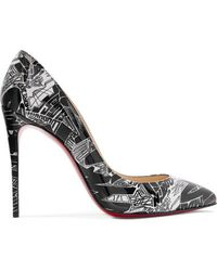 Christian Louboutin Pigalle Follies Nicograf 100 Printed Patent-leather Pumps - Black