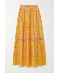 Le Sirenuse Camille Stromboli Embroidered Cotton-voile Maxi Skirt - Yellow