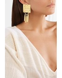 Annie Costello Brown Clea Gold-tone Earrings - Metallic