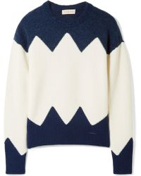 Tory Burch - Hannah Paneled Wool-blend Sweater - Lyst