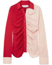Marques'Almeida - Ruched Two-tone Voile Shirt - Lyst