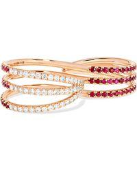 Melissa Kaye - 18-karat Rose Gold, Ruby And Diamond Two-finger Ring - Lyst