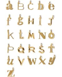 Monica Vinader - A-z Alphabet Letter Gold Vermeil Pendants Gold J - Lyst