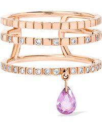 Diane Kordas - Triple 18-karat Rose Gold, Sapphire And Diamond Ring - Lyst