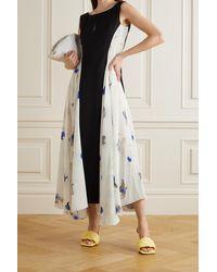 Nina Ricci Panelled Printed Silk Crepe De Chine And Wool Dress - White