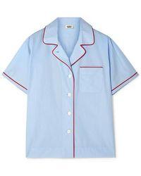 Sleepy Jones Corita Pyjama-hemd Aus Baumwollpopeline - Blau