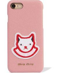 Miu Miu - Appliquéd Textured-leather Iphone 7 Case - Lyst