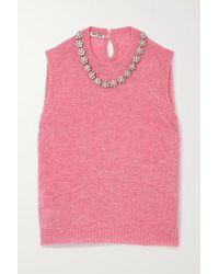 Miu Miu Crystal-embellished Wool Tank - Pink