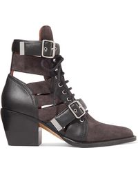 Chloé - Rylee Cutout Leather And Suede Ankle Boots - Lyst