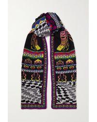 Stella McCartney Keep In Touch Intarsia Wool-blend Scarf - Purple