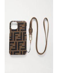 Fendi Iphone 11 Pro-hülle Aus Geprägtem Leder Mit Besatz Aus Canvas - Braun
