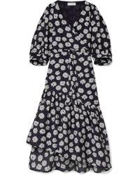Apiece Apart - Bougainvillea Floral-print Cotton And Silk-blend Wrap Dress - Lyst