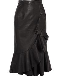 Michael Kors - Rumba Wrap-effect Ruffled Leather Skirt - Lyst