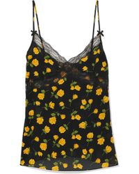 Michael Kors - Lace-trimmed Floral-print Silk-crepe Camisole - Lyst