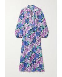 Zimmermann Poppy Floral-print Linen Maxi Dress - Purple