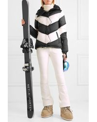 Perfect Moment Hooded Two-tone Striped Quilted Down Ski Jacket - Black