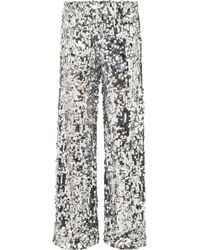 MM6 by Maison Martin Margiela - Paillete-embellished Tulle Wide-leg Trousers - Lyst