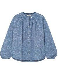 Doen Jane Floral-print Cotton-blend Blouse - Blue