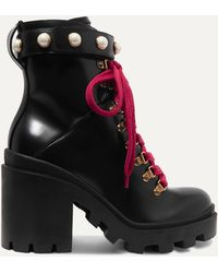 Gucci Trip Leather Ankle Boots - Black