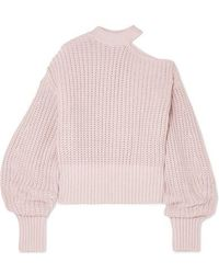e8f8b6ed74ce Self-Portrait Cold-shoulder Striped Cotton-blend Sweater in Blue - Lyst