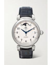 IWC Schaffhausen Da Vinci Automatic Moon Phase 36mm Stainless Steel And Alligator Watch - Metallic