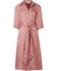 Diane von Furstenberg - Striped Silk-twill Midi Dress - Lyst
