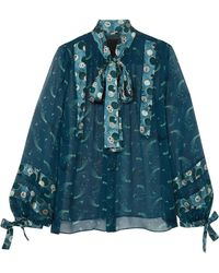 Anna Sui - Cosmos Pussy-bow Printed Crinkled-chiffon Blouse - Lyst