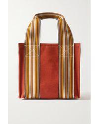 Loro Piana Suitcase Mini Striped Cotton And Linen-blend Canvas Tote - Orange