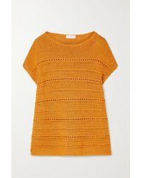 Lafayette 148 New York Ärmelloser Pullover Aus Einer Baumwollmischung In Lochstrick Mit Pailletten - Orange