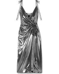 The Attico Gathered Stretch-lamé Wrap Dress - Metallic