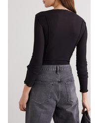 Baserange + Net Sustain Omato Set Of Two Ribbed Stretch Organic Cotton Tops - Black