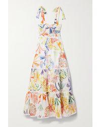 Charo Ruiz Artemisa Shirred Printed Cotton-blend Voile Maxi Dress - White