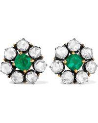 Or 18 Carats, Argent, Rubis Et Diamants Boucles D'oreilles - Anthracite Amrapali
