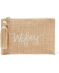 Kayu Wifey Embroidered Woven Straw Pouch - Natural